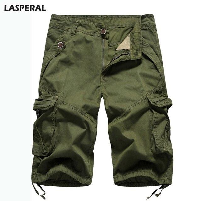 75de055e782 LASPERAL verano camuflaje Camo Cargo Shorts Casual Shorts militares  bolsillos Baggy sueltas medio masculinos sólidos