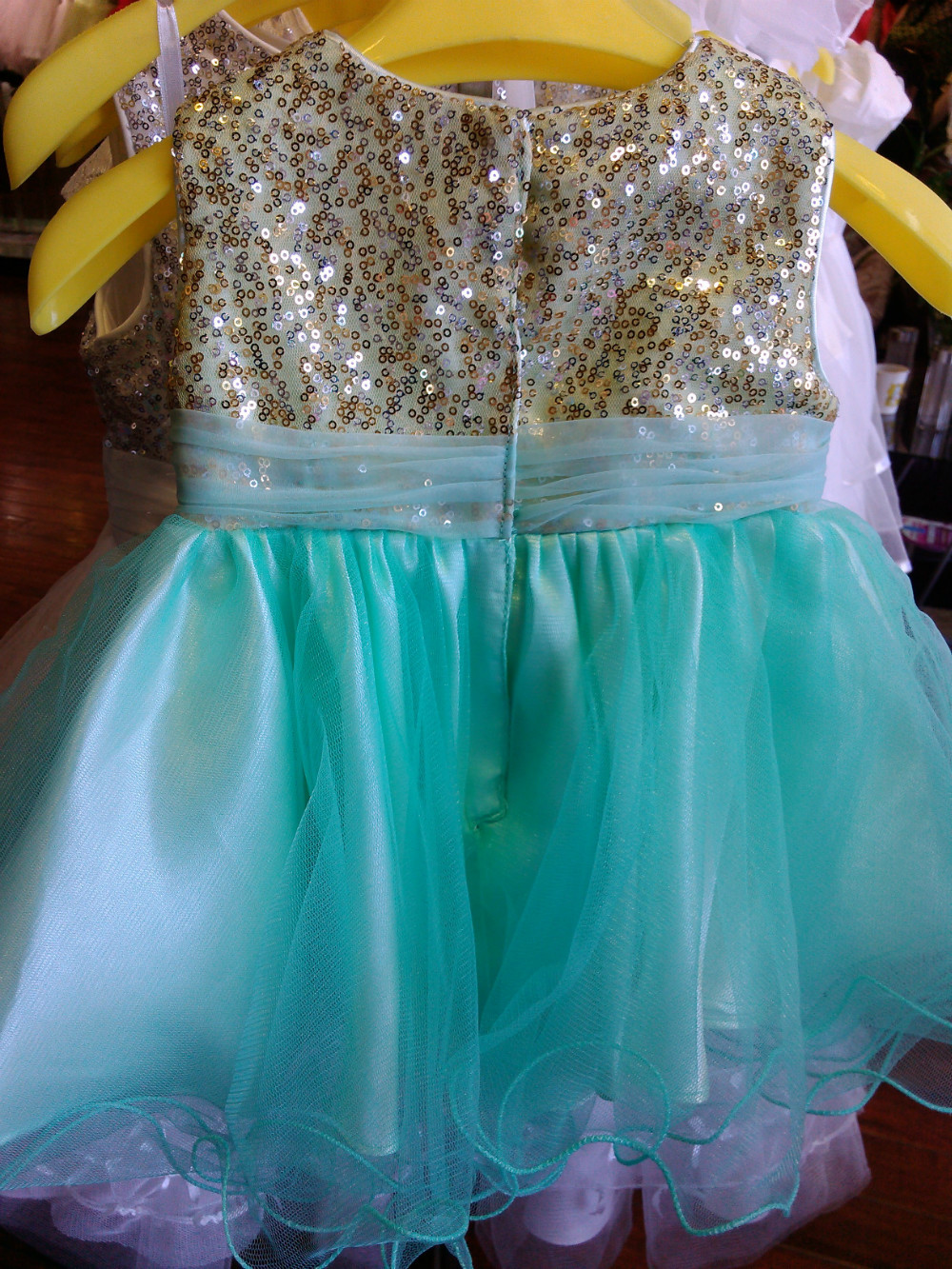 Custom Make Mint Green Gold Sequins Flower Dress Knee Length Wedding Party Color Size In Dresses From Weddings