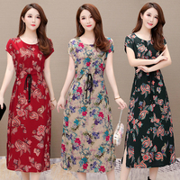 Summer new style plus fat plus size fat cotton silk dress middle aged women national wind print loose mother Sexy dress female