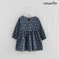 Fashion Korean Little Girls Dress Kids Clothes Toddler Summer Children Clothing Long Sleeve Polka Dot Baby