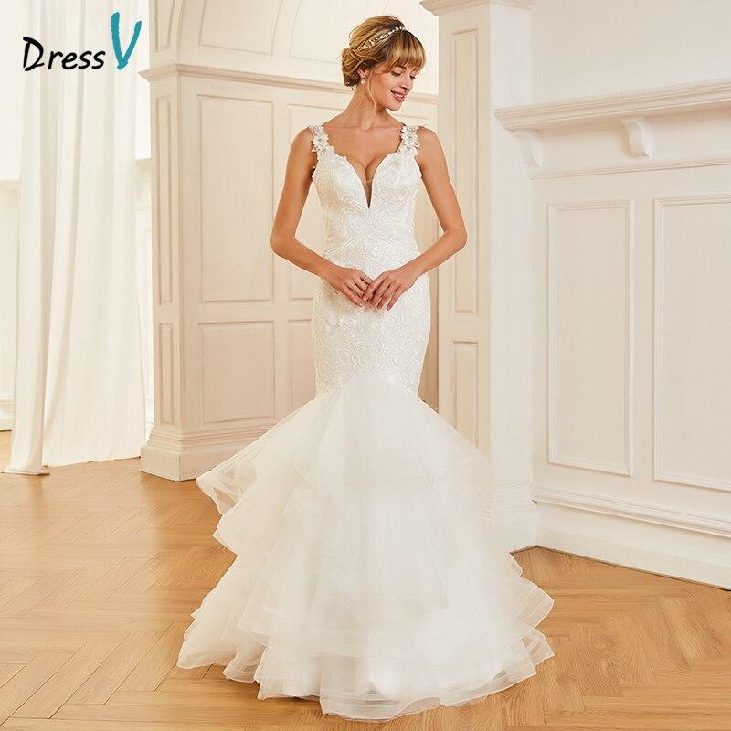 Dressv V Neck Mermaid Long Wedding Dress Sleeveless Tulle Appliques Lace Backless Dream Church Garden Princess Wedding Dresses