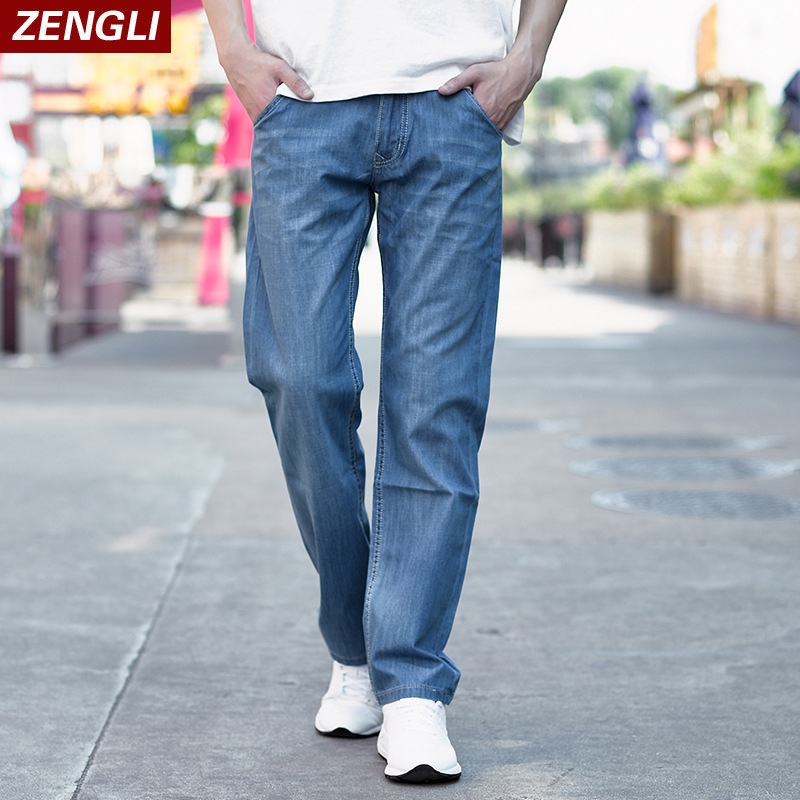 ZENGLI Fashion Men Elastic Jeans Classic Mens Stretch Cotton Denim Pants Regular Fit Thin and Breathable Mid Waist Plus Size 48 men s cowboy jeans fashion blue jeans pant men plus sizes regular slim fit denim jean pants male high quality brand jeans