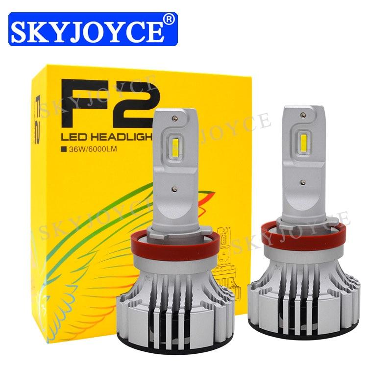 SKYJOYCE 2018 New F2 Car LED Headlight Bulb 12V 24V 36W 6000LM H1 H4 H7 H11