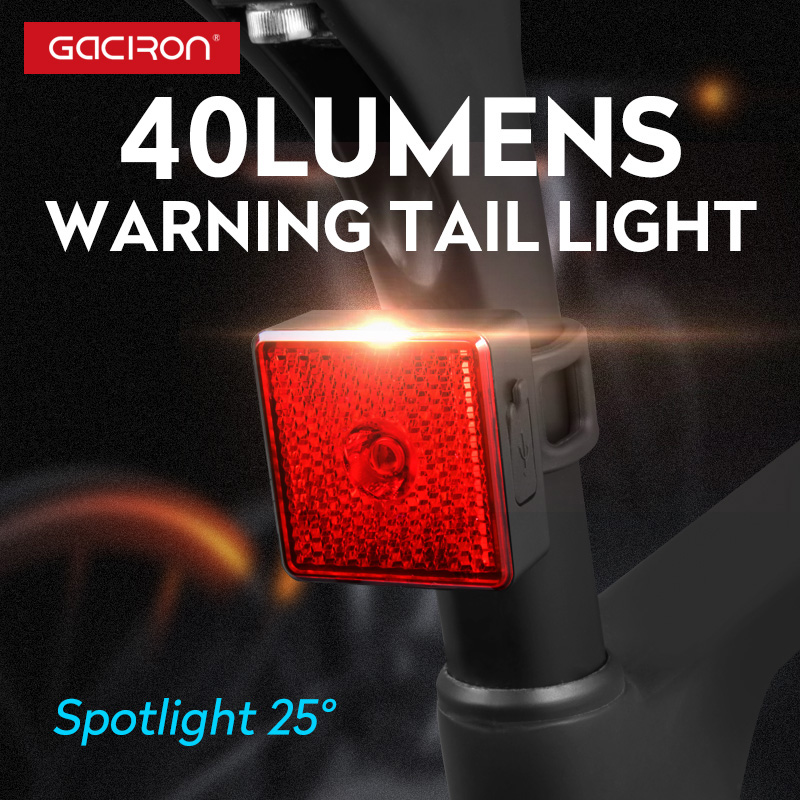 Gaciron 40 Lumen Smart Bike Tail Light Bicycle Spotlight USB Rechargeable Waterproof Warning Lamp Night Riding Safety Rear Light