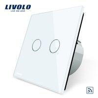 Livolo EU Standard Remote Switch Crystal Glass Panel EU Standard Wall Light Remote Touch Switch LED