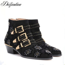 Celebrity Crystal Studded Ankle Boots Sexy Chunky Heel Black Suede Ladies Shoes Bota Buckle Strap Design Riding Motorcycle Boots