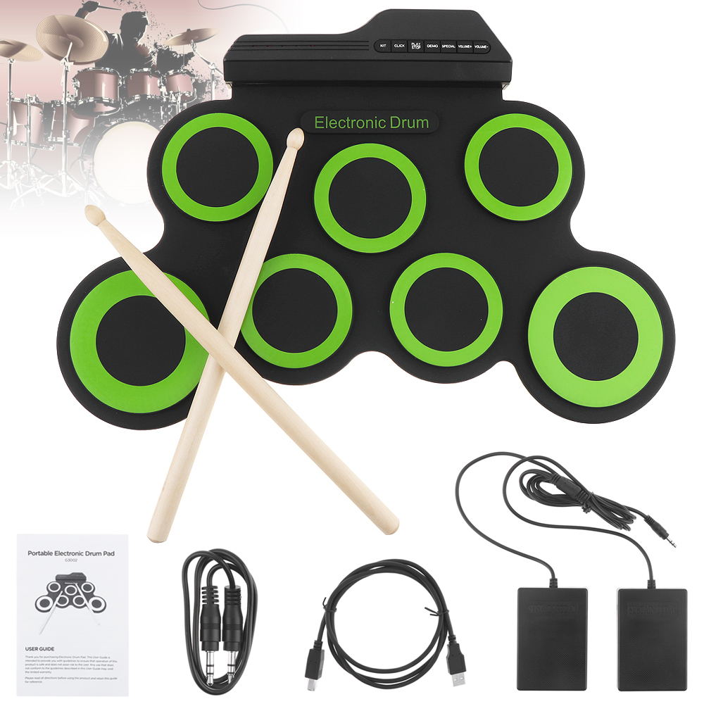 Portable Electronic Digital USB 7 Pads Roll up Set Silicone Green Electric Drum Kit with Drumsticks