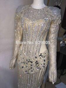 Image 3 - Luksusowe błyszczące srebrne kryształki sukienka miga Sexy etap nosić długie sukienki pełne kryształy kostium strój do świętowania sukienki