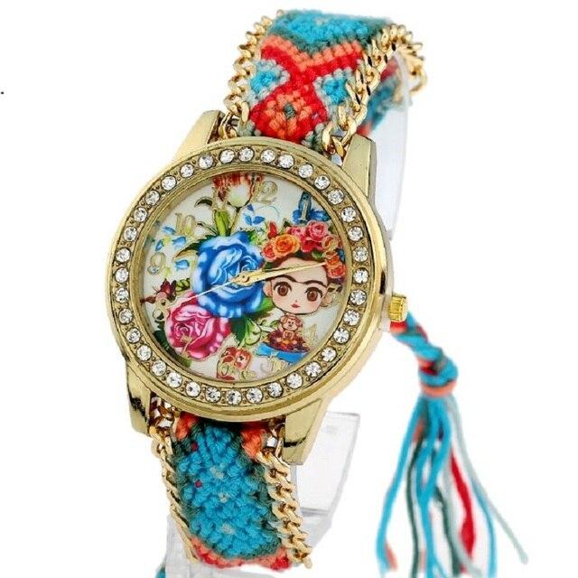 2b6950fb1439 Gnova platino reloj de las mujeres de la muchacha de flor colección étnica  tejido trenzado de