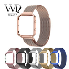 купить Rolamy Black Silver Blue Replacement Milanese Steel band Strap Magnetic Closure With Case Frame For Fitbit Blaze 23 watch по цене 1039.49 рублей