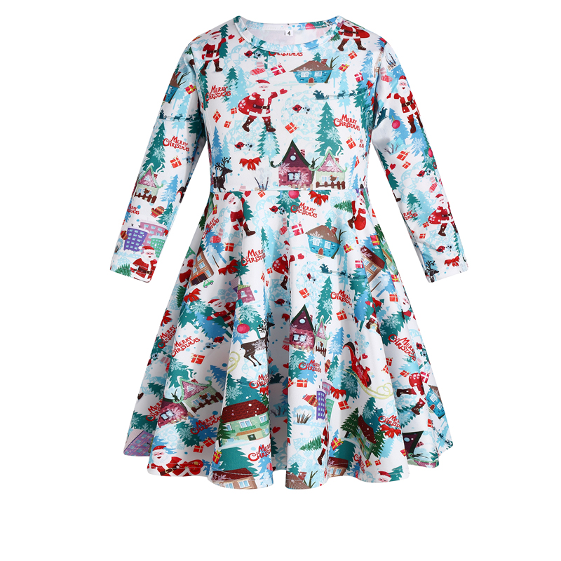 Girls Clothing New Year Festival Santa Costume Girl Party Dress Christmas Clothes Long Sleeve Pageant Party Princess Dress 2~8t
