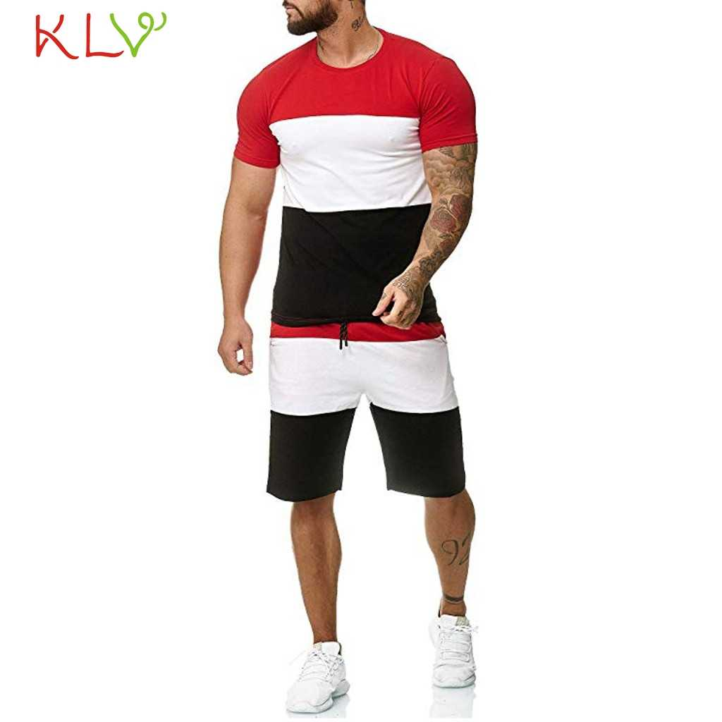 Sport Suit Men Summer Fitness Running Two-Piece Sets T-shirt Tops Short Pants Tight Jogging Homme Mens Tracksuit Clothes 19May3
