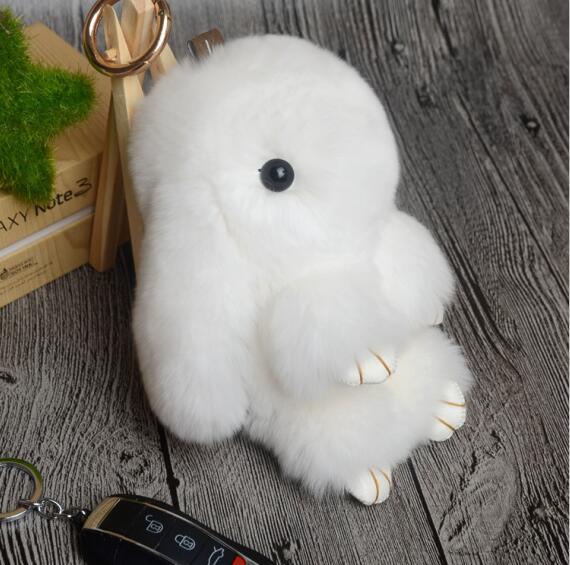 14cm Cute Pluff Bunny Keychain Rex Genuine Rabbit Fur Key Chains For Women Bag Toys Doll Fluffy Pom Pom Lovely Pompom Keyring 3
