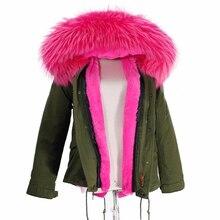 Женское армейское зеленое пальто с капюшоном большого цвета из меха енота, парки, верхняя одежда, зимняя куртка со съемной подкладкой# E183