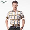 ДЖУНГЛИ ЗОНЫ мужская с коротким рукавом рубашки вскользь клетчатую рубашку хлопчатобумажных мужские рубашки бизнес рубашки мужчин 2017 новый бесплатный доставка