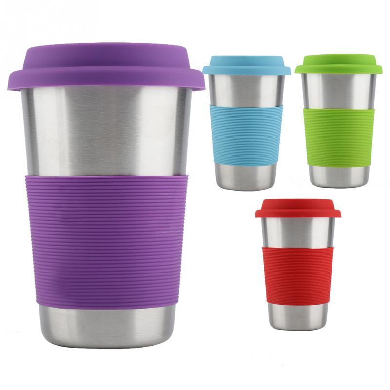 500ML Travel Coffee Mug Creative With Silicone Lid Stainless Steel High quality Cups and Mugs Tea Milk Drinkware Beer Mug