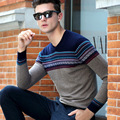 M-3XL! Male Long Sleeve 100% Wool Sweater V-neck Straight Leisure Men's Sweaters
