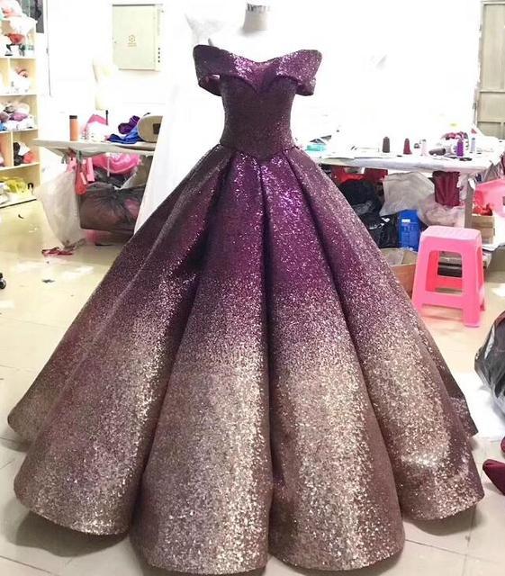 Glitter Mix Sequined Ball Gown Evening Dress Dubai Arab Off Shoulder Evening Gowns Robe De Soiree