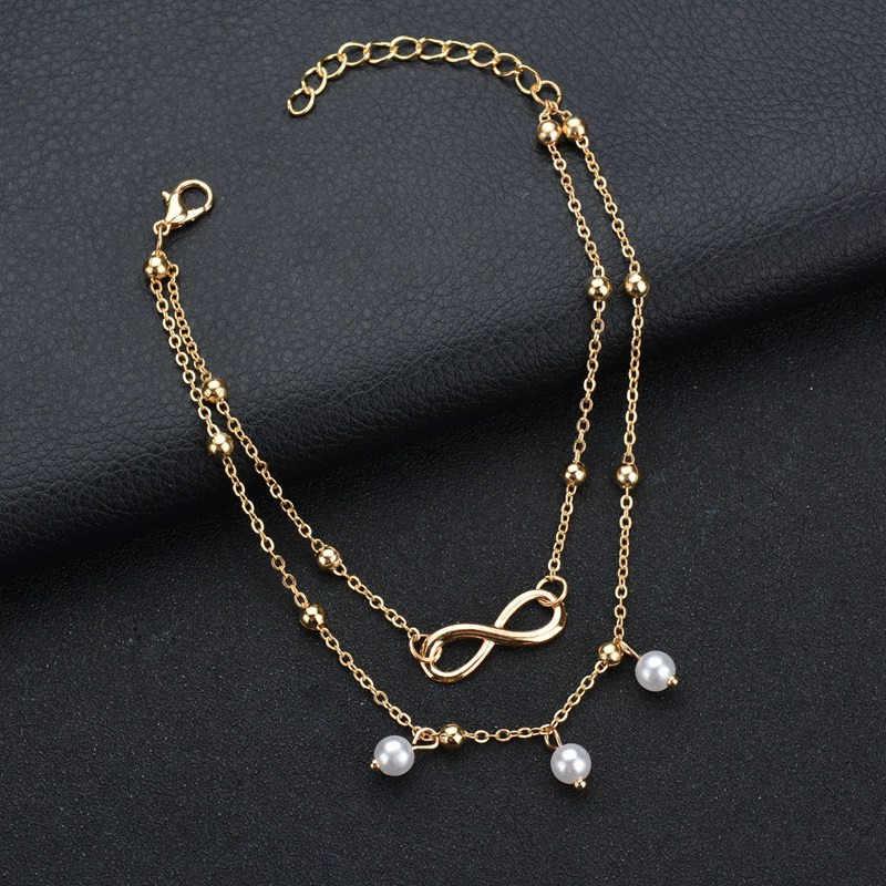 LETAPI Charm regulowany bransoletka na kostkę dwie warstwy łańcuchy plażowe obrączki Peal kobiet łańcuch nogi stóp biżuteria prezent na boże narodzenie