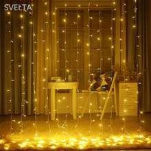 SVELTA 6x3m 600 Bulbs LED Icicle String Fairy Light Outdoor Christmas Curtain Lights For Wedding Holiday Home Decoration Garland