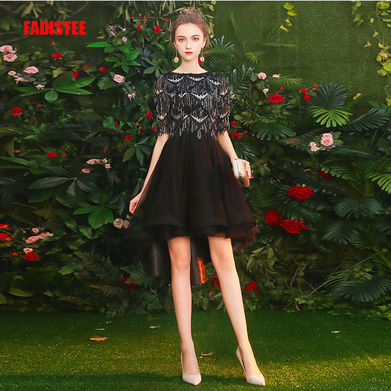 FADISTEE   Cocktail     Dresses   Hot Selling slim O-neck short style   Dresses   Women little black   dresses   vestido de novia tassel prom