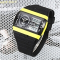 2016 NEW OHSEN digital sport mens quartz watch 30M waterproof yellow dial rubber band led diving waches relogio masculino