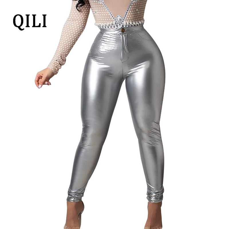 QILI Women PU Pencil Pants Trousers Black Rose-red Orange Yellow Leather Fashion Casual Trouser Plus Size S-XXXL