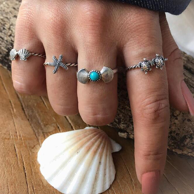 HuaTang Bohemian Antique Silver Ring Geometric Elephant Flower Green Rhinestone Knuckle Rings Midi Finger Anel Rings Jewelry 97