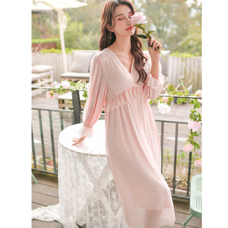 0040695368 ... 2019 Elegant Night Dress For Honeymoon Sexy V-Neck Long Sleeve Vintage Nightgown  Cotton Sleepwear ...
