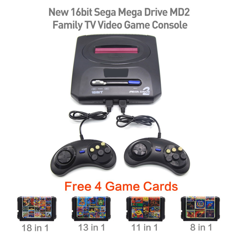 New 16bit Sega Mega Drive MD2 Free 4 Game Cards Family TV Video Game Console Player Retro Video Game Console with 2 Controllers us plug hdmi video game player 16 bit md nostalgia gaming console with double 2 4g wireless controllers retro style design