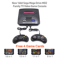 New 16bit Sega Mega Drive MD2 Free 4 Game Cards Family TV Video Game Console Player Retro Video Game Console with 2 Controllers