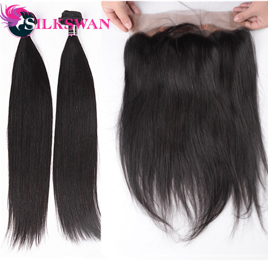 Silkswan Peruvian Hair Straight 2 Bundles With 360 Lace Frontal 100 Human Hair Bundles With Frontal