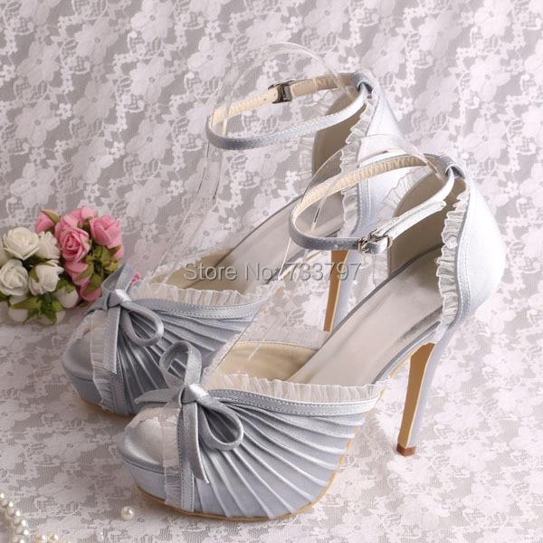 (20 Colors) Custom Handmade Ladies Summer Sandals Wedding Shoes Silver Satin Platform Dropshipping