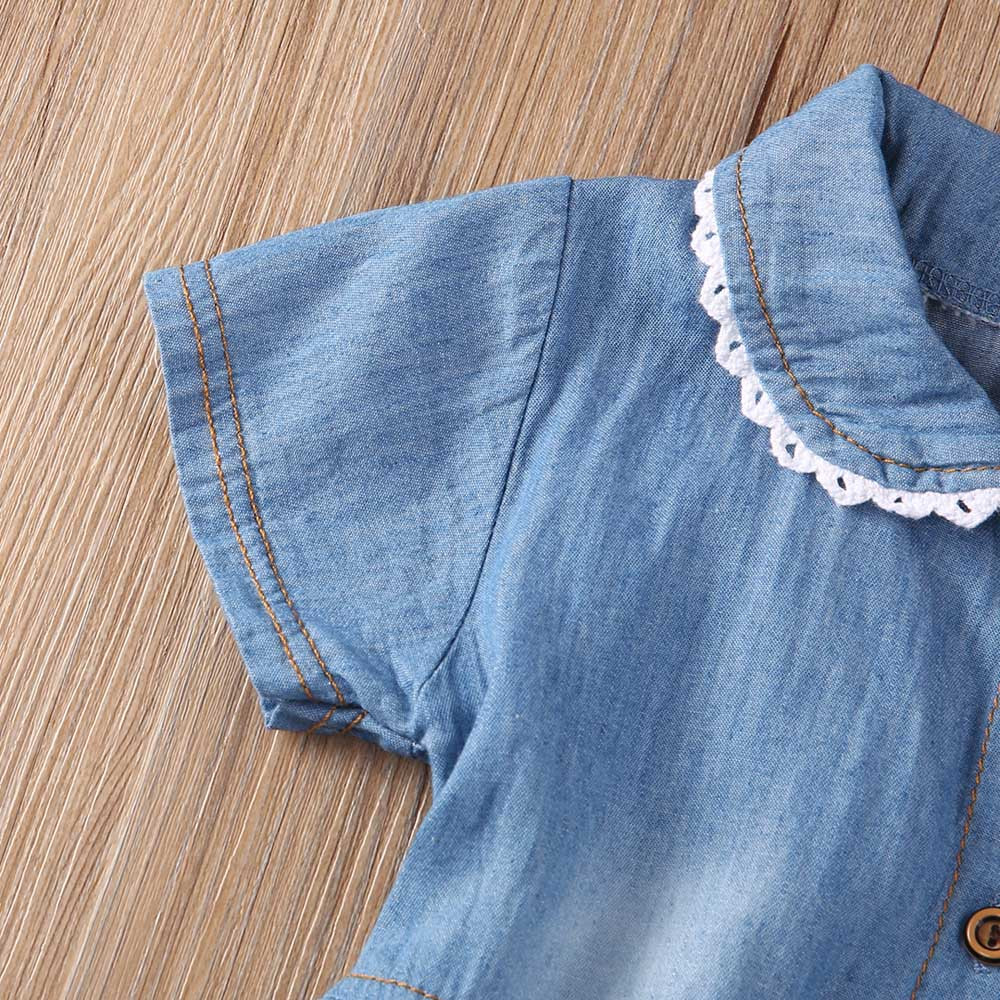 Jean Dress Toddler Baby Girls Dress Floral Short Sleeve Bowknot Denim Sundresses