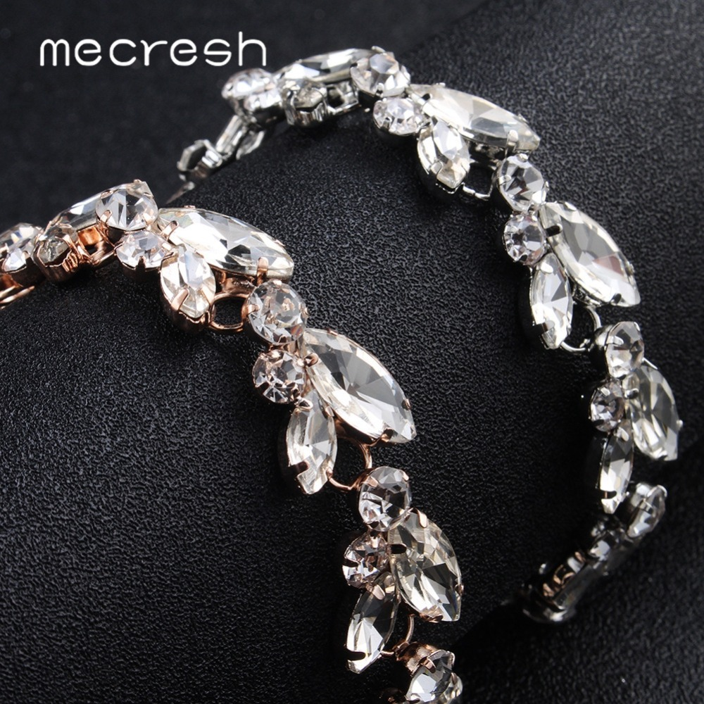 Mecresh Leaf Crystal Bridal Wedding Bracelet Women Silver Rose Gold Color Rhinestones Link Chain Bracelets Bangles MSL370 in Chain Link Bracelets from Jewelry Accessories