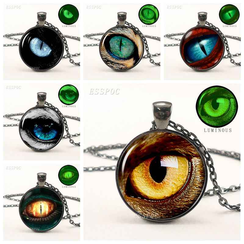 Green Light Luminous Necklace Dragon Eye Glowing Picture Pendant Black Chain Necklace Fashion Jewelry Glow In The Dark Gifts