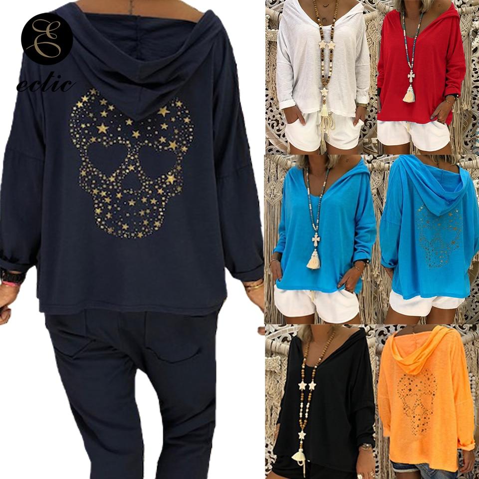 Skull Theme Pullover Hoodies Poleron Mujer 2019 Thin Sequin Sweatshirt Harajuku Streetwear Oversized Hoodie Punk Women Drilling