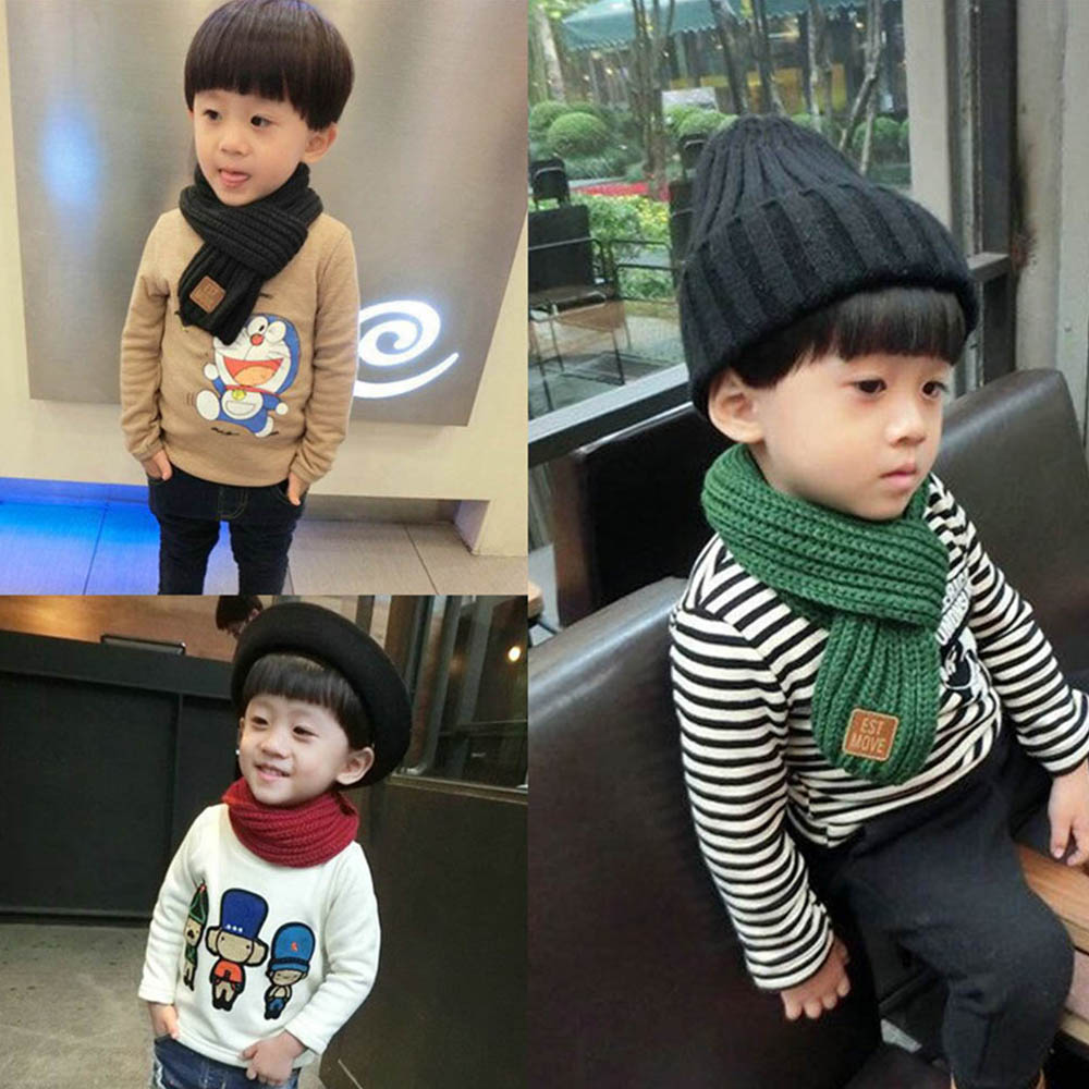 2019 Winter Kids Scarves Warm Boys Girls Scarf Solid Soft Stretch Scarf Collar Children Neck Warmer Scarves Knitting Wool