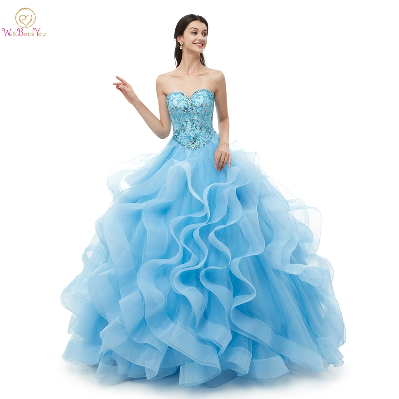 2019 Quinceanera Dresses Ball Gown Ruffles Tulle Beading Crystal Long Sleeveless Sweetheart Vestidos De 15  Sweet 16 Dresses