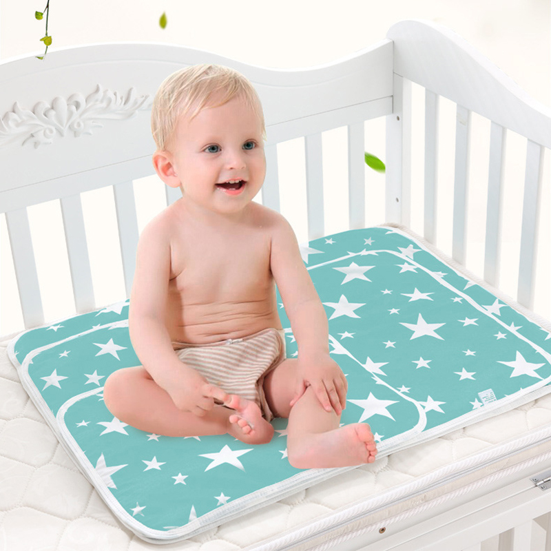 Baby Summer Cool Mat Bear Pattern Baby Bed Pad Breathable Ice Silk Sleeping Crib Mattress Urine Pad with Pillow for Newborn Toddler Bed Orange