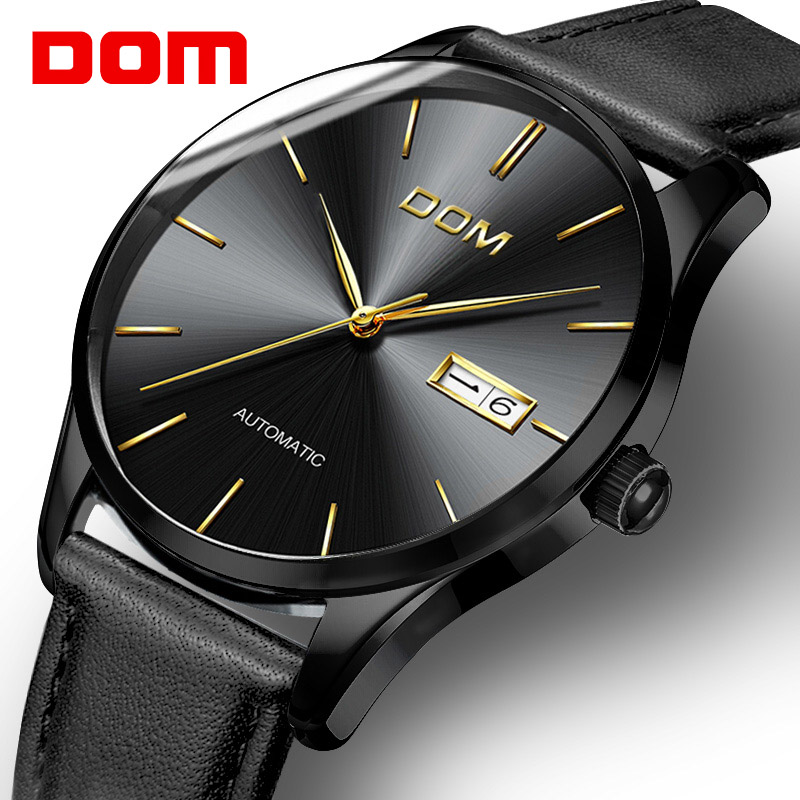 DOM Sapphire Fashion Mechanical Watch Men Simple Business Casual Top Brand Mens Watches Automatic Luxury relogio masculino forsining fashion brand men simple casual automatic mechanical watches mens leather band creative wristwatches relogio masculino