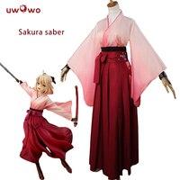 UWOWO Sakura Saber Cosplay Arturia Pendragon Anime Costume Grand Order Fate Stay Night Sakura Saber Cosplay
