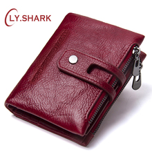 LY.SHARK Small Wallet Female Purse Women Wallet Genuine Leather Coin Purse fFmale Walet Money Bag Clutch Short Card Holder Gift kavis genuine leather women wallet purse coin female portomonee walet lady long handy money card holder clutch gift for girls