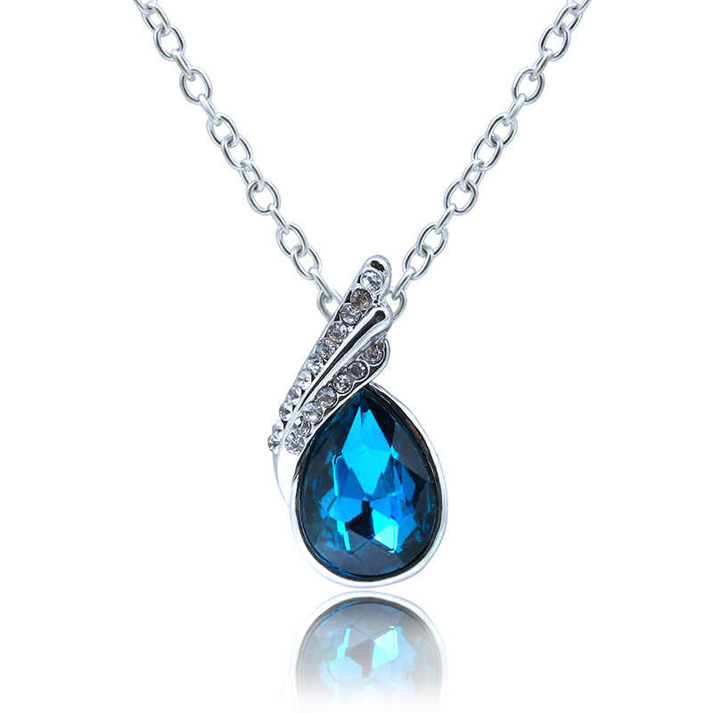 Pha lê Mặt Dây Chuyền Dây Chuyền Nữ Mạ Bạc Rhinestone Leaf Charm Choker Xương Đòn Liên Kết Chuỗi Zircon Water Drop Jewelry