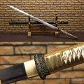 Настоящий стальной прямой нож-ниндзя  полностью острый  готовый для резки ножны  живописи черного и золотого цвета-японская катана