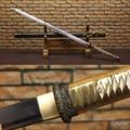Echt Stahl Gerade Klinge Ninja Schwert Full Tang Sharp Bereit für Schneiden Scheide Malerei Schwarz und Gold Japanischen Katana-in Schwerter aus Heim und Garten bei
