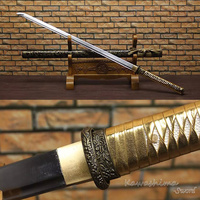 Real Steel Straight Blade Ninja Sword Full Tang Sharp Ready for Cutting Scabbard Painting Black and Gold Japanese Katana