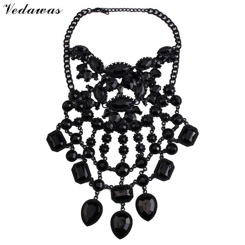 Vedawas módní šperky ženy černé DIY drahokamu korálky límec - Bižuterie - Fotografie 2