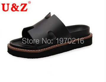 ФОТО 2016 high quality female brand cool slippers Summer,Fashion soft leather slippers(Black/Beige) Non slip women thongs beach shoes
