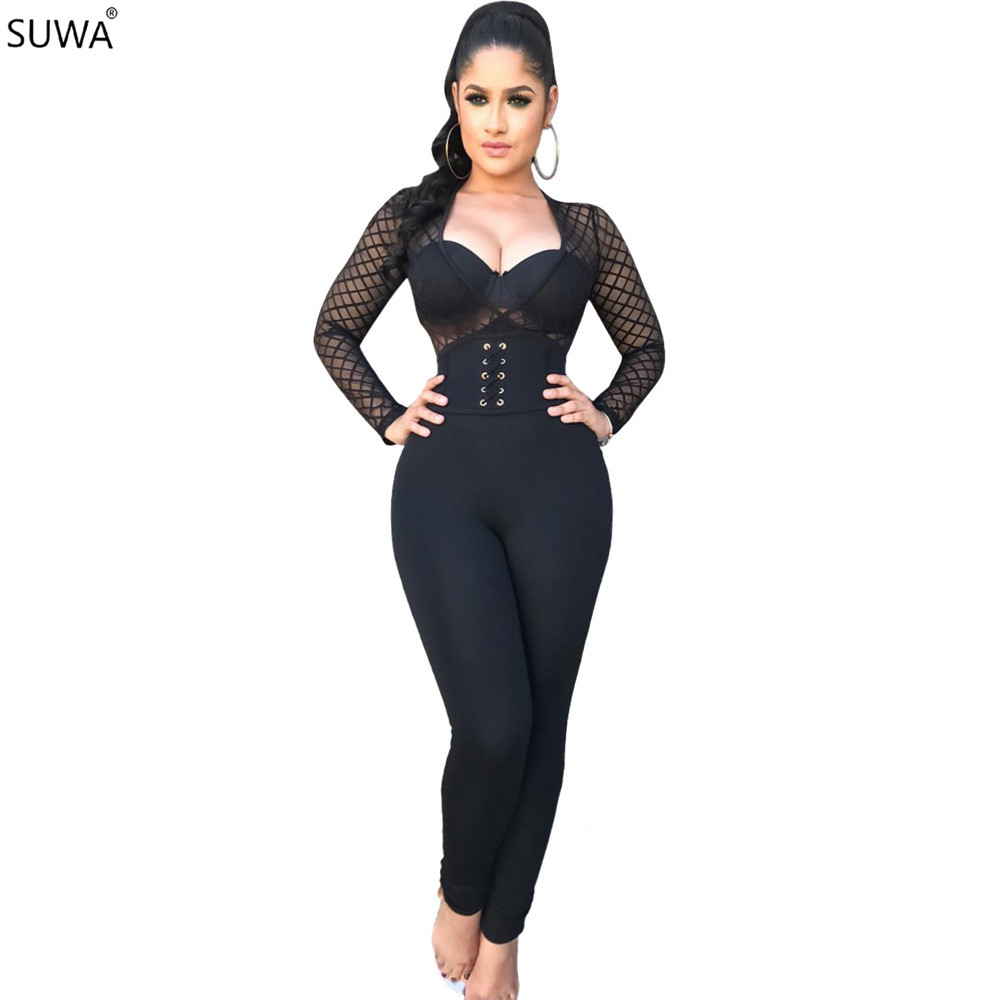 Hollow Out Sexy Bodycon Jumpsuit Women Black V-Neck Skinny Romper Casual Ladies Full Len ...